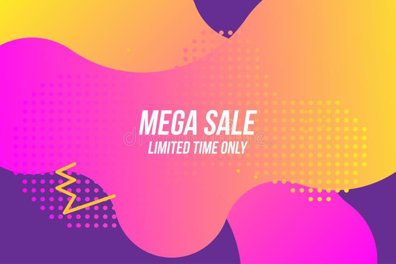 Mega Sale on colour liquid background. Flat vector illustration EPS 10 vector illustration