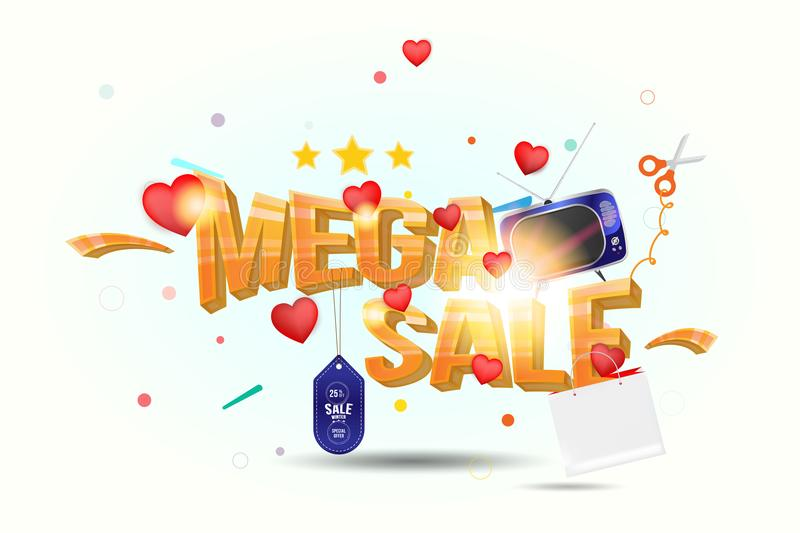 Mega sale of 25 . The concept for big discounts with voluminous text, a retro TV and red hearts on a light background with light e. Ffects. Flat vector royalty free illustration