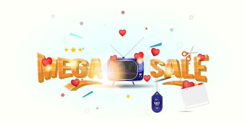 Mega sale of 25 . The concept for big discounts with voluminous text, a retro TV and red hearts on a light background with light e. Ffects. Flat vector vector illustration