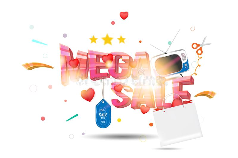 Mega sale of 25 . The concept for big discounts with voluminous text, a retro TV and red hearts on a light background with light e. Ffects. Flat vector stock illustration