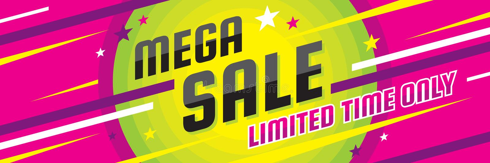 Mega sale discount - vector layout concept illustration. Abstract horizontal advertising promotion banner. Creative background. vector illustration