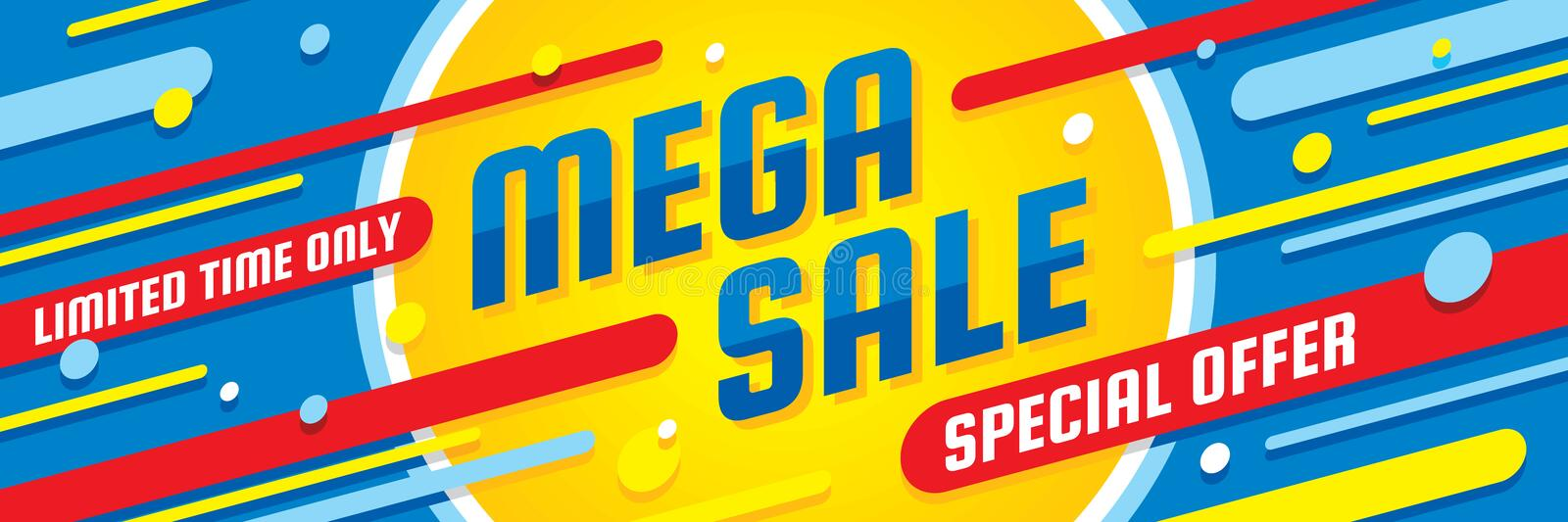 Mega sale discount - vector layout concept illustration. Abstract horizontal advertising promotion banner. Special offer. stock illustration