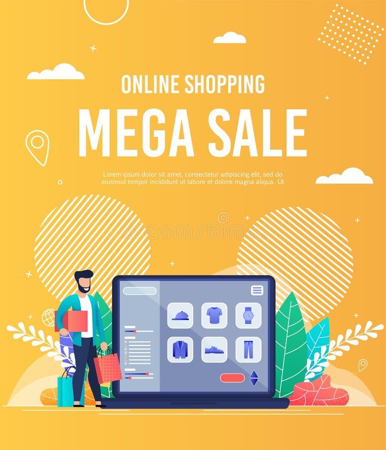 Mega Sale för ljus reklambladonline-shopping bokstäver royaltyfri illustrationer