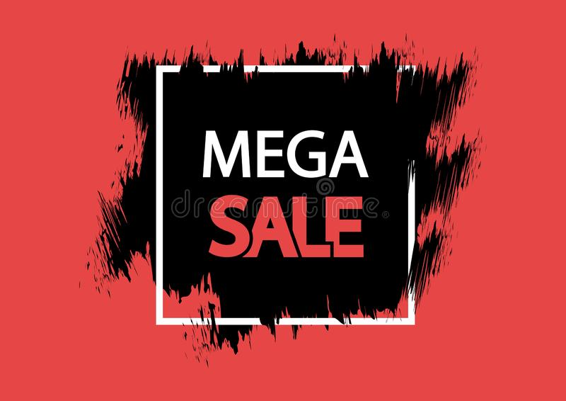 Mega sale. Grunge banner, red, black and white colors. Brush stroke and square frame. Vector. Illustration stock illustration