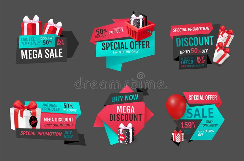 Mega Sale of Natural Products One Month Banners vector illustration