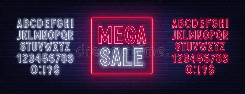 Mega sale neon sign on dark background. Template for design. stock illustration