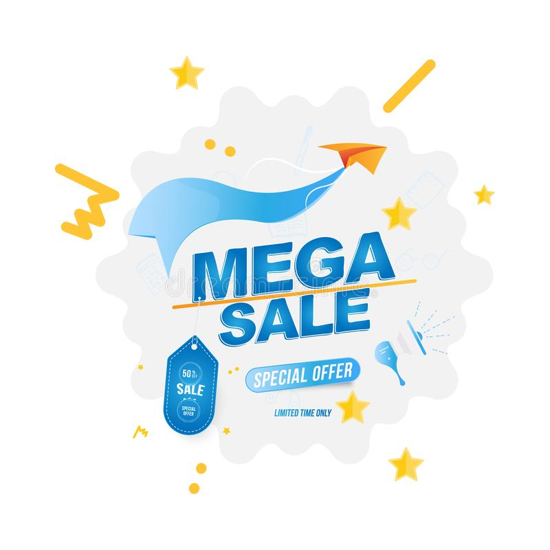 Mega Sale with 50 off and label. Banner template with loudspeaker and Paper Airplane. Flat Vector EPS10 vector illustration