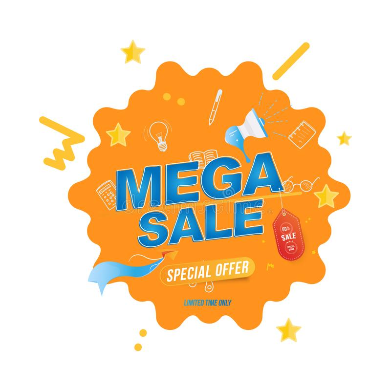 Mega Sale with 50 off and label. Banner template with loudspeaker and Paper Airplane. Flat Vector EPS10 royalty free illustration