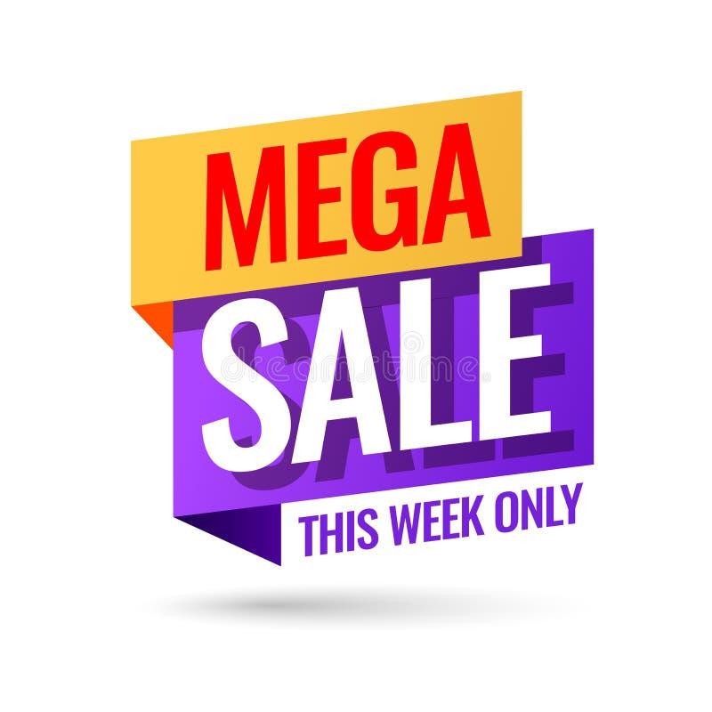 Mega Sale som annonserar banret stock illustrationer
