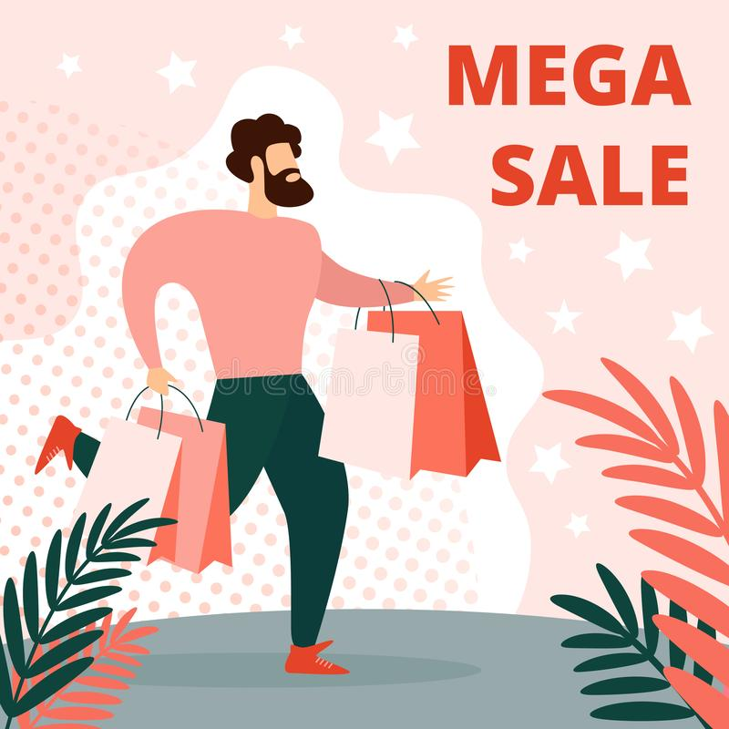 Man in Casual Dress Run with Paper Shopping Bags. Mega Sale Square Banner. Young Bearded Man in Casual Dress Running with Paper Shopping Bags in Hands. Holiday vector illustration