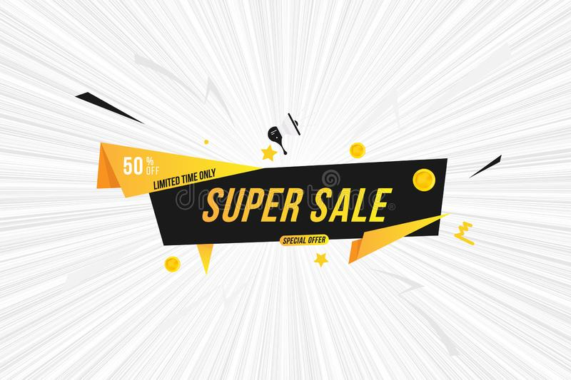Mega Sale tag with 50 special offer on comic book background. Font inscription with loudspeaker. Flat Vector Illustration EPS10. Advertising, iquid, cartoon royalty free illustration