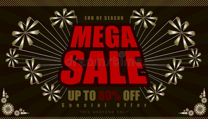 Mega sale up to 80% end of year special offer. vintage retro element firework explode from center. vector illustration eps10. Mega sale up to 80% end of year vector illustration