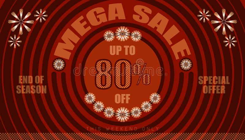 Mega sale up to 80% end of year special offer. vintage retro style. small to big circle from center. creative poster design. vector illustration