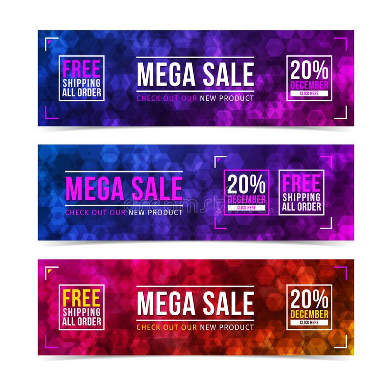 Mega Sale web banners template design. Hexagons abstract pattern. Multicolor trendy geometric background. royalty free illustration