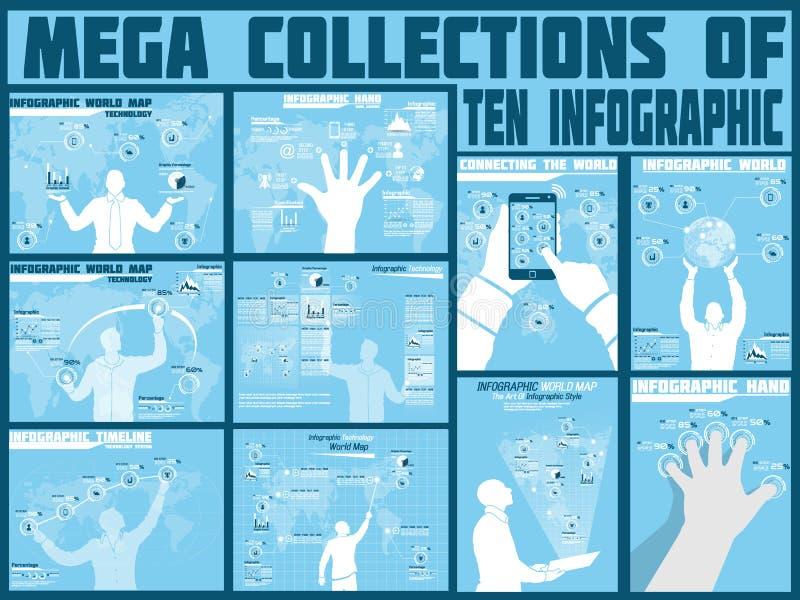 Mega samling av alternativ för man för affär tio infographic royaltyfri illustrationer