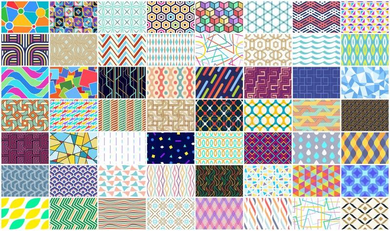 Mega samling av den färgrika sömlösa geometriska modellen vektor illustrationer
