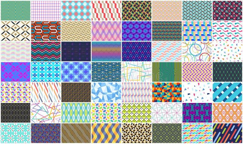 Mega samling av den färgrika sömlösa geometriska modellen stock illustrationer