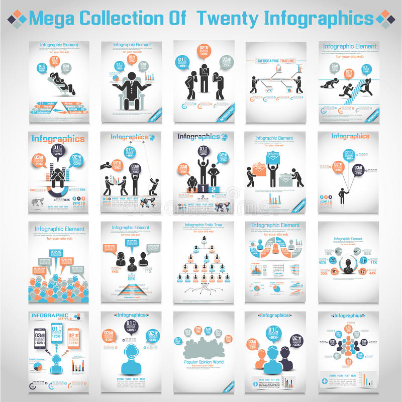 Mega samling av fyrtio infographic moderna origami stock illustrationer