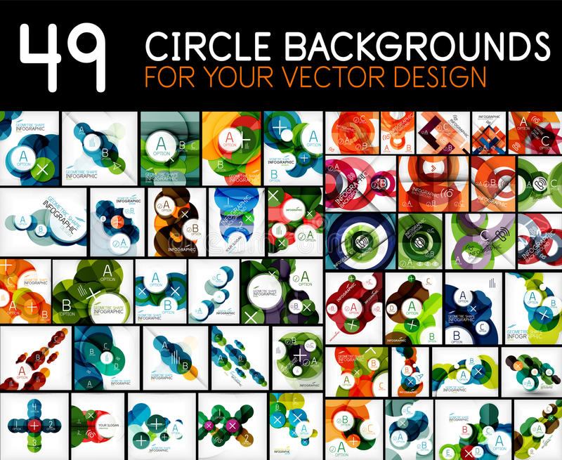 Mega samling av geometriska abstrakta bakgrundsmallar - cirklar, för modelldesign för runda former beståndsdelar royaltyfri illustrationer