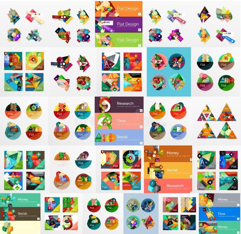 Mega samling av plan rengöringsdukinfographics vektor illustrationer