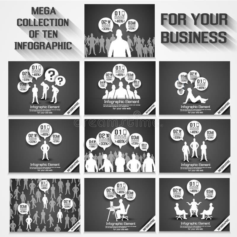 Mega samling av tio grå färger för alternativ för affärsman infographic vektor illustrationer