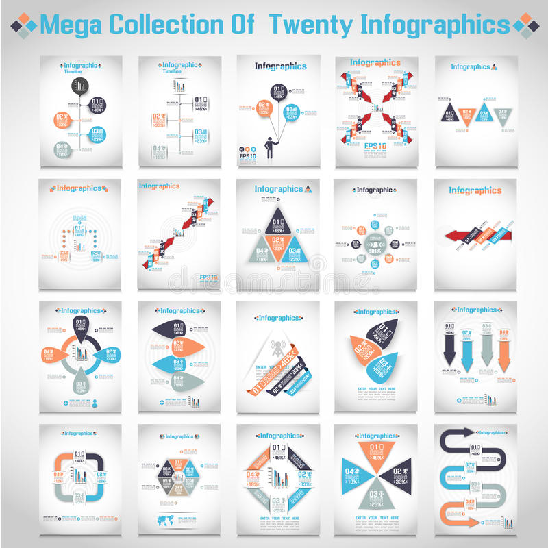 Mega samling av tio infographic moderna origami royaltyfri illustrationer