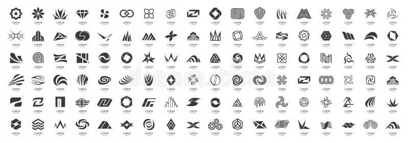 Mega samling för abstrakta logoer royaltyfri illustrationer