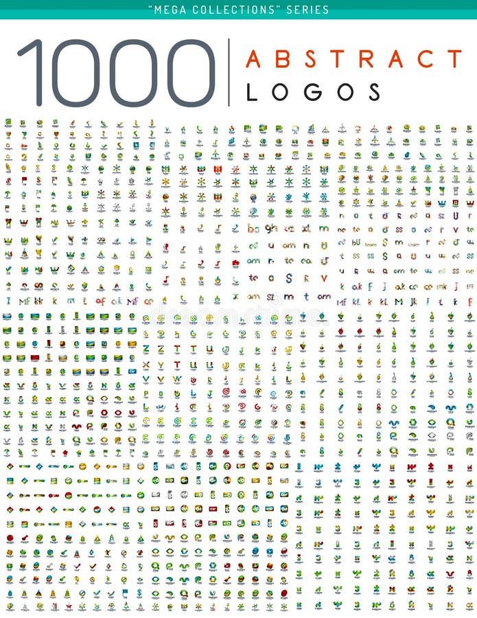 Mega samling för logo stock illustrationer