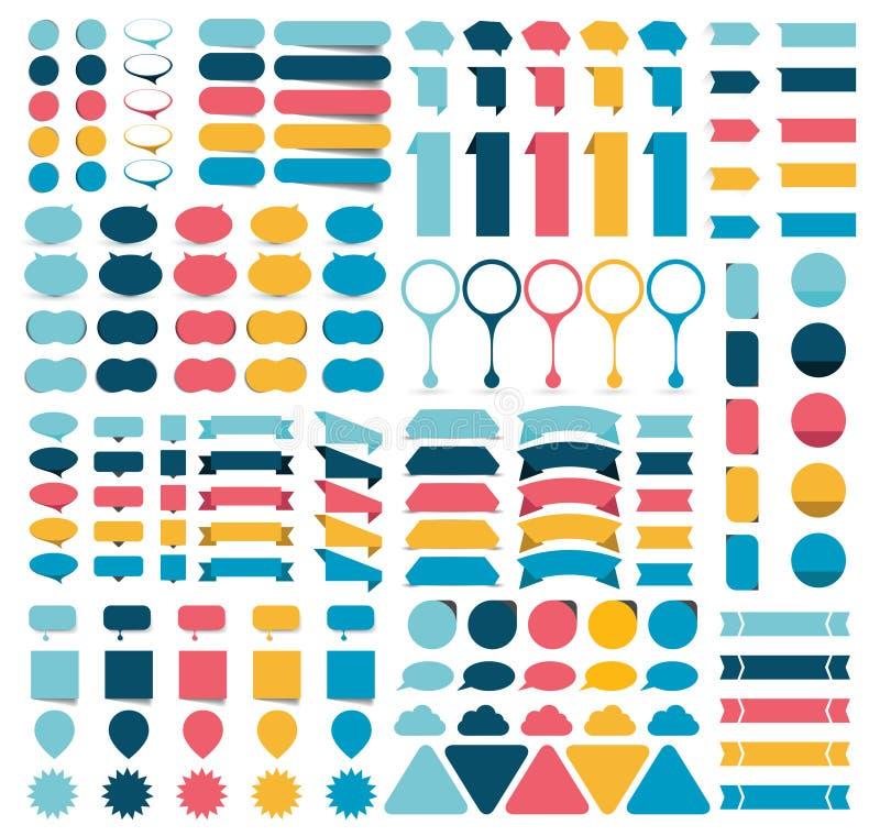 Mega samlingar av infographicslägenheten planlägger beståndsdelar, knappar, klistermärkear, anmärkningslegitimationshandlingar, p royaltyfri illustrationer