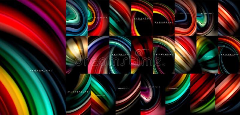 Mega- Sammlung des flüssigen Farbflusszusammenfassungs-Hintergrundes, moderne bunte flüssige Designe, Flüssigkeit bewegt auf Schw vektor abbildung