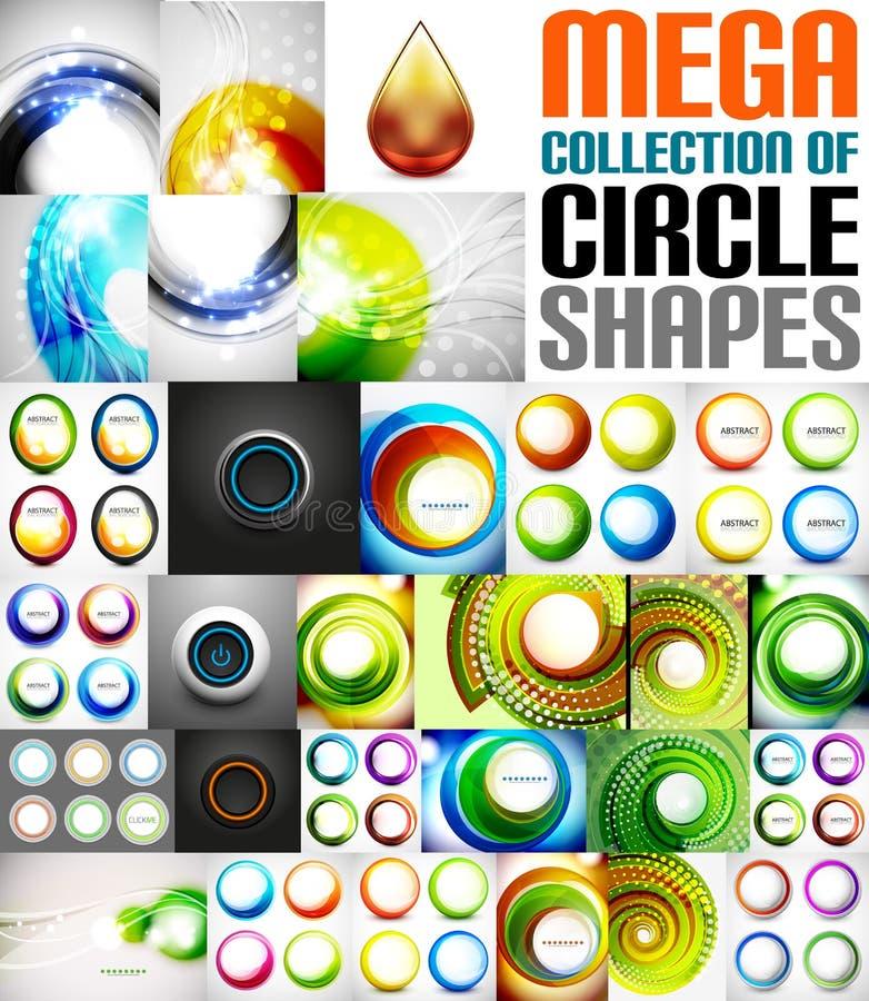 Mega- Sammlung geformte Zusammensetzungen des Kreises vektor abbildung