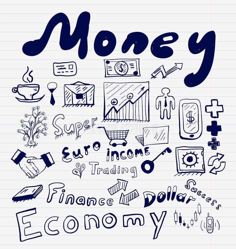 Mega- Sammlung Geldfinanzierung, Geschäft und Geldkonzepte, die gezeichnete Hand kritzelt vektor abbildung