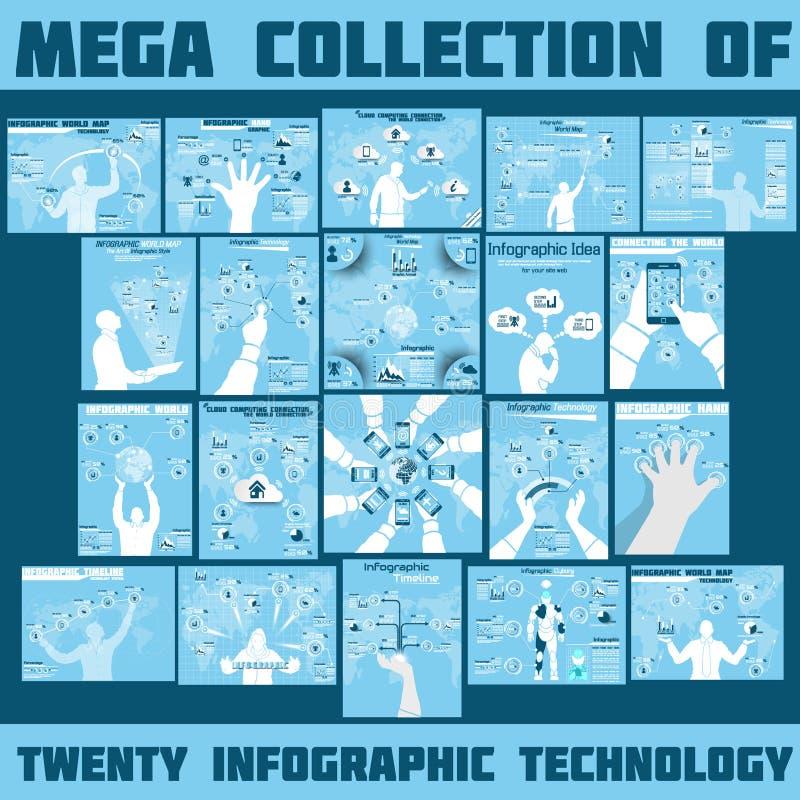 Mega- Sammlung infographic stock abbildung