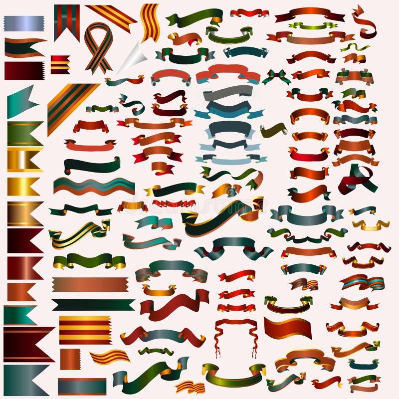 Mega- Sammlung Vektorbänder und -fahnen für irgendeinen Feiertag oder lizenzfreie abbildung