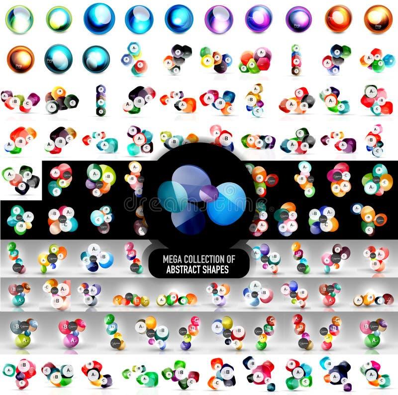 Mega- Sammlung von 100 abstrakten abgerundete Form-Ikonen des Vektors und von infographic Fahnenschablonen vektor abbildung