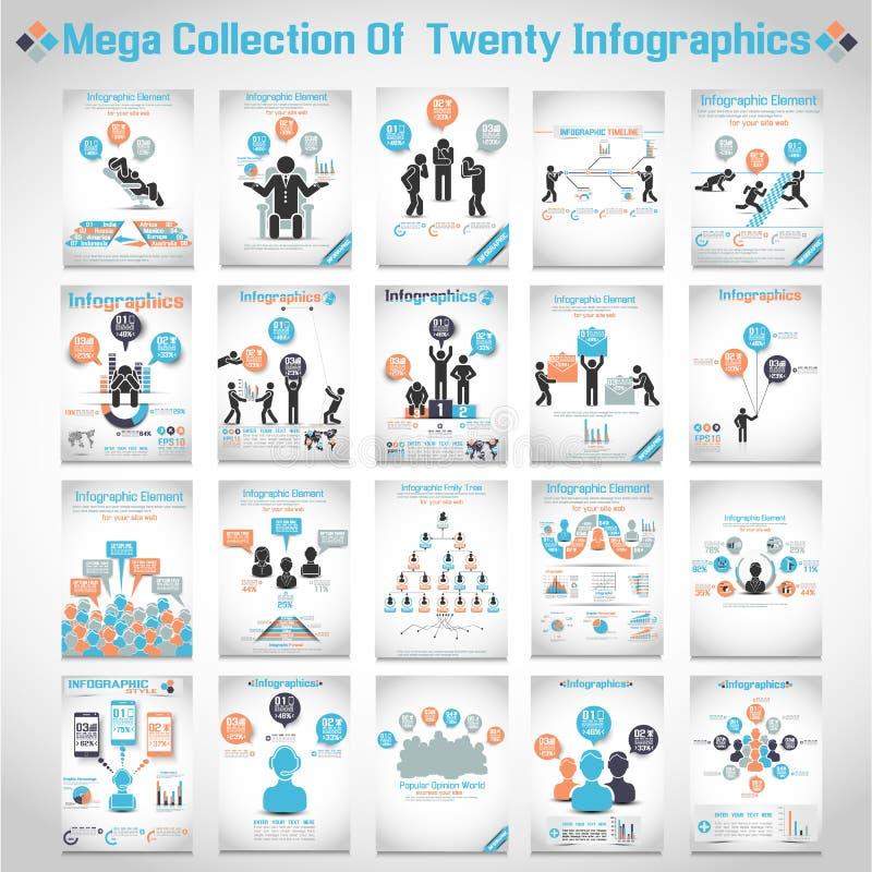 Mega- Sammlung von vierzig modernem Origami infographic stock abbildung