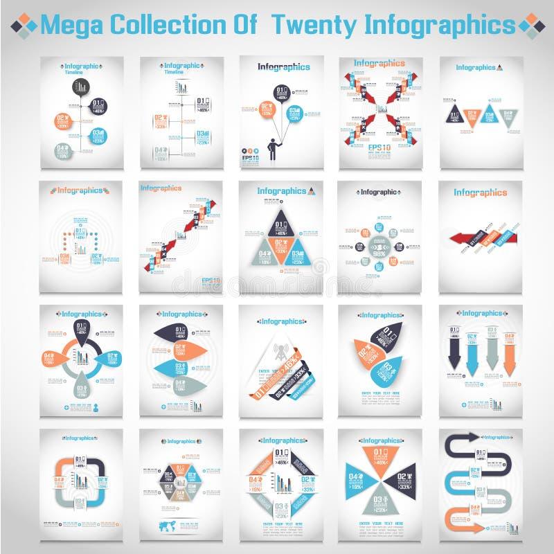 Mega- Sammlung von zehn modernem Origami infographic lizenzfreie abbildung