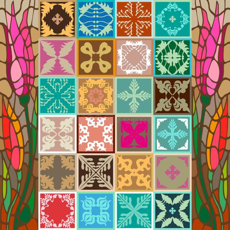 Mega- Satz Glasig-glänzende Keramikfliesen mit bunten Grenzen lizenzfreie abbildung