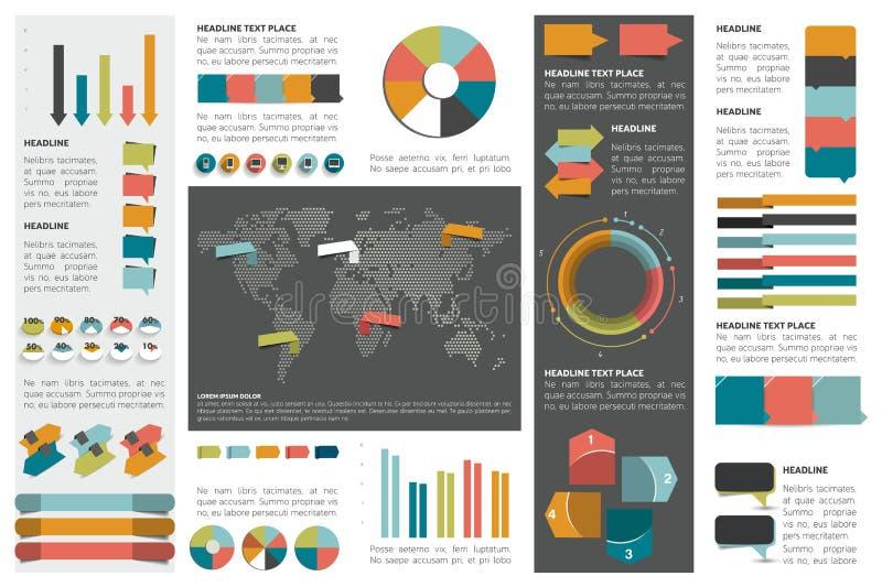 Mega- Satz infographics Elementdiagramme, Diagramme, Kreisdiagramme, Diagramme, Rede sprudelt vektor abbildung