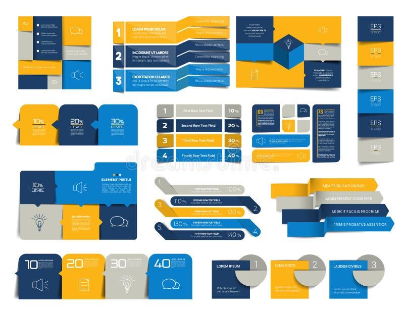 Mega- Satz infographics Elemente, Zeitpläne, Vorsprünge, Fahnen, Diagramme stock abbildung