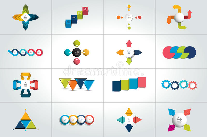 Mega- Satz von 4 infographic Schablonen der Schritte, Diagramme, Diagramm, Darstellungen, Diagramm stock abbildung