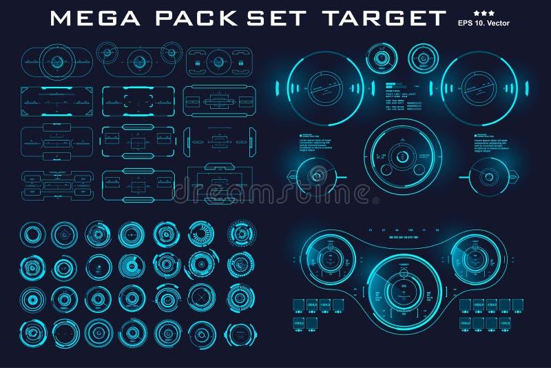 Mega- Satzsatzziel Futuristische blaue Benutzerschnittstelle HUDs Futuristische virtuelle grafische NotenBenutzerschnittstelle stock abbildung