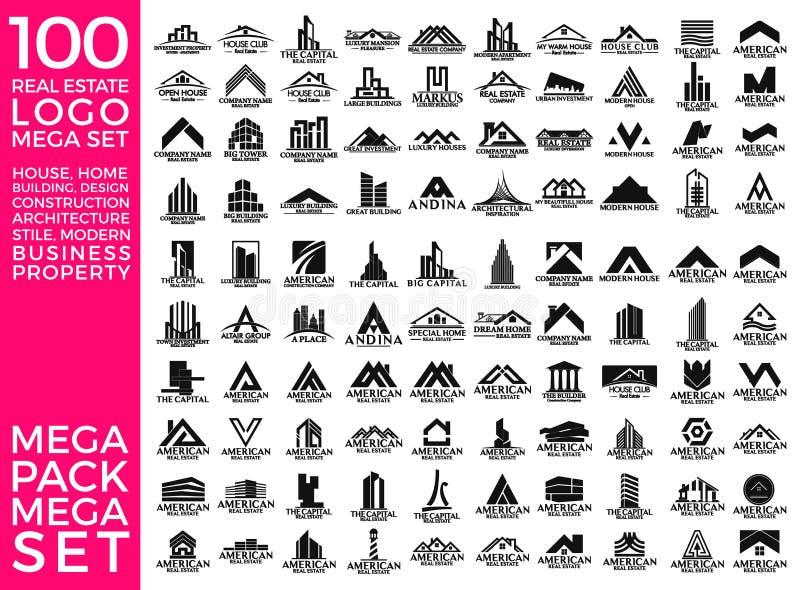 Mega Set and Big Group, Real Estate, Building and Construction Logo Vector Design. Eps 10 vector illustration