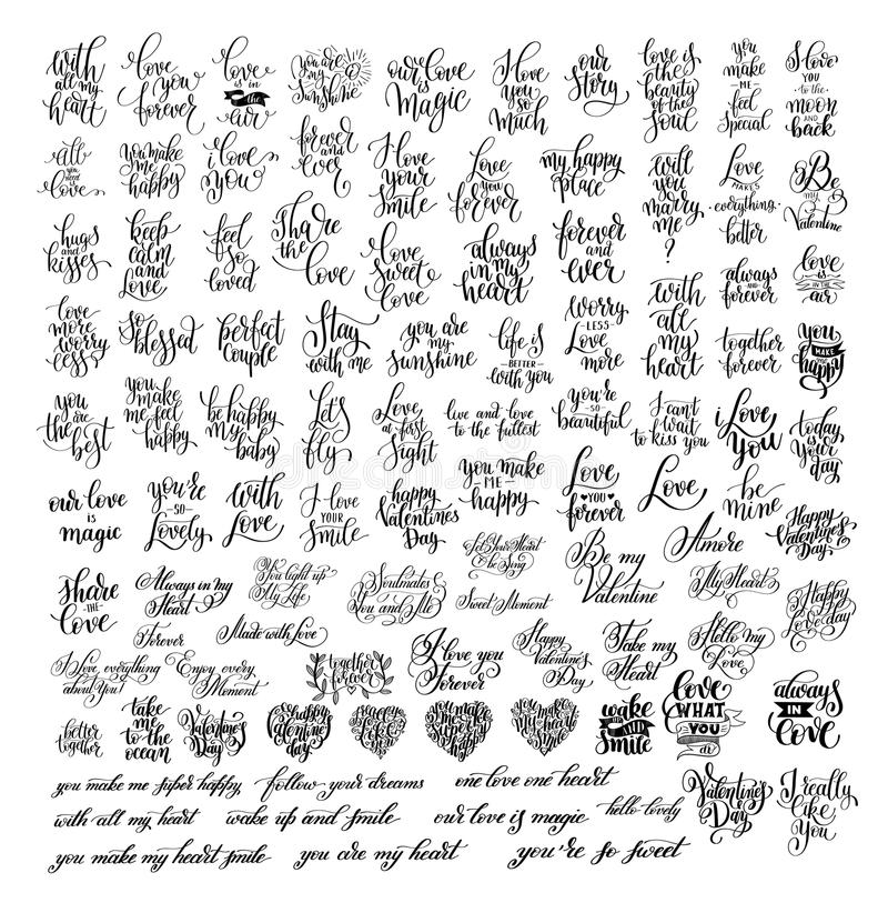 Mega set of 100 black and white hand written lettering about love. To wedding invitation, valentines day design, greeting card and romantic quotes poster stock illustration