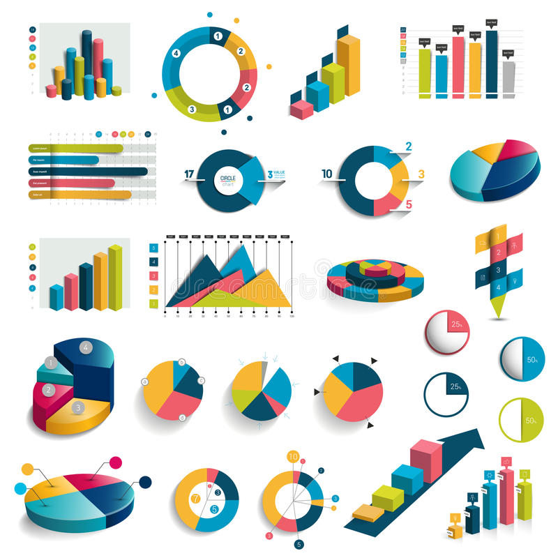 Mega set of charts, graphs, circle charts. royalty free illustration