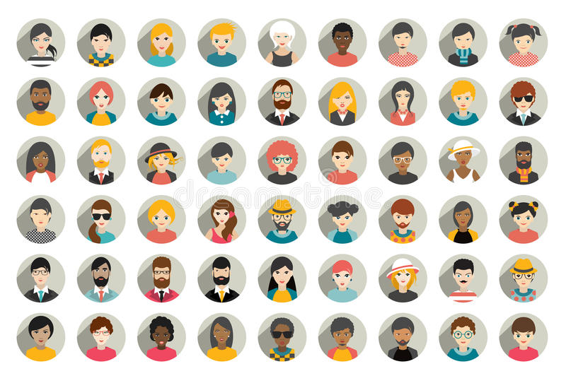 Mega set of circle persons, avatars, people heads different nationality in flat style. Vector royalty free illustration
