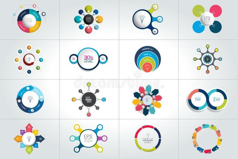 Mega set of circle, round infographic templates, diagrams, graph, presentations, chart. royalty free illustration