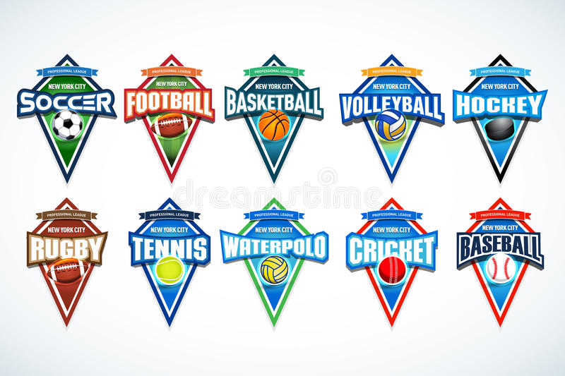 Mega set of colorful sports logos soccer, football, basketball, volleyball, hockey, rugby, tennis, waterpolo, cricket, baseball. stock illustration