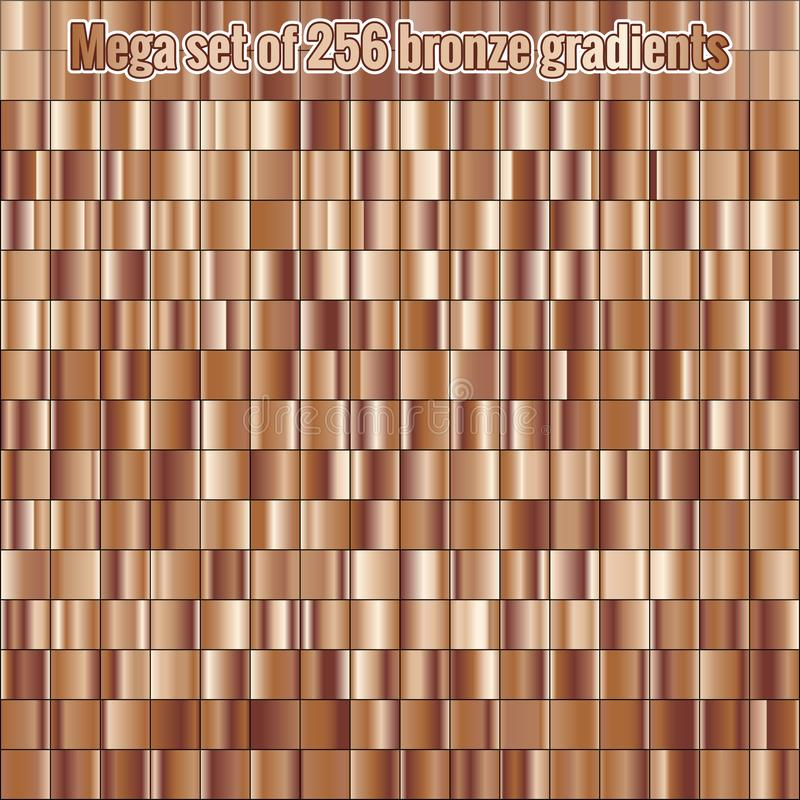 Mega set consisting of collection 256 bronze foil gradients. Metallic texture. Shiny background. EPS 10 vector illustration