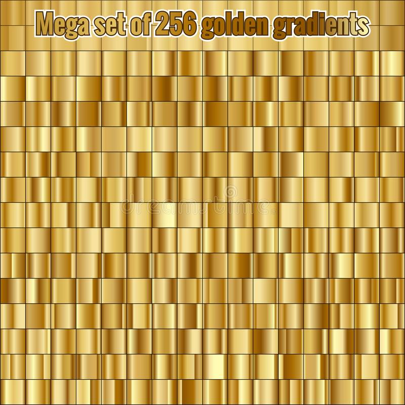 Mega set consisting of collection 256 golden gradients. EPS 10. Vector file royalty free illustration